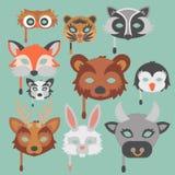 O grupo de animais dos desenhos animados party a ilustração do feriado do vetor das máscaras Imagem de Stock