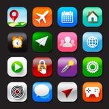 O grupo de app móvel e do vetor social eps10 dos ícones dos meios ajustou 002 Imagem de Stock