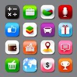 O grupo de app móvel e do vetor social eps10 dos ícones dos meios ajustou 003 Fotografia de Stock