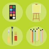 O grupo de artista escreve a faca de paleta da lona da escova de pintura Imagens de Stock