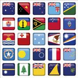 O grupo de australiano, Oceania esquadrou ícones da bandeira Fotos de Stock Royalty Free