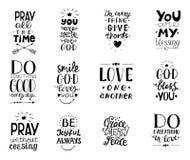 O grupo de 12 bênçãos cristãs do quotesYou da rotulação da mão, faz bom cada dia, Grace, mercê, a paz, ama um outro, reza ilustração royalty free