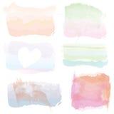 O grupo de bandeiras da aquarela, molda, espirra Fotos de Stock