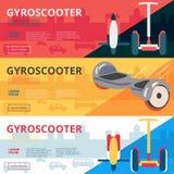 O grupo de bandeiras da Web do advertiisment do gyroscooter do eco projeta Vetor ilustração do vetor