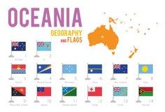 O grupo de 14 bandeiras de Oceania isolou-se no fundo e no mapa brancos de Oceania ilustração royalty free