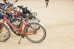 O grupo de bicicletas coloridas do vintage estacionou em uma fileira no Pa da citadela Fotografia de Stock