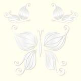 O grupo de borboletas brancas decorativas cortou do papel Ilustração do vetor Fotografia de Stock