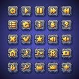 O grupo de botões pausa, joga, dirige, procura, carrinho de compras pelo uso na interface de utilizador de jogos de computador, e Imagens de Stock Royalty Free