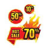 O grupo de burning quente da venda etiqueta o disconto 10% 50% 70% e Ta Ilustração Stock
