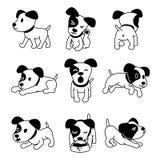 O grupo de cão do terrier de russell do jaque do personagem de banda desenhada do vetor levanta ilustração do vetor