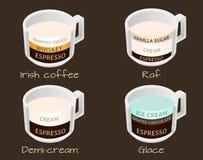 O grupo de café datilografa o café do raf, do demi-creme, o glace e o irlandês Fotos de Stock Royalty Free