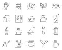 O grupo de café e o chá alinham ícones do vetor ilustração do vetor