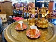 O grupo de café preto egípcio do estilo do caixa de fortuna fotografia de stock