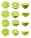 O grupo de cal maduro corta ao meio isolado sobre o fundo branco, três escorços diferentes Imagem de Stock
