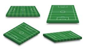 O grupo de campo de futebol 3D no branco isolou o fundo Perspectiva e aspecto isométrico Vetor Fotografia de Stock Royalty Free