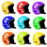 O grupo de capacetes luge em um fundo branco Foto de Stock
