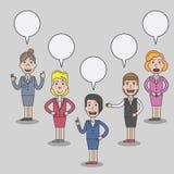 O grupo de caráter das mulheres de negócio com discurso borbulha Foto de Stock Royalty Free