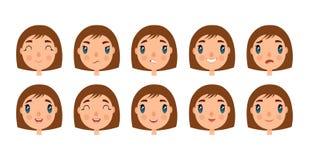 O grupo de caras bonitos da menina para você projeta Estilo do plano e dos desenhos animados Fundo branco Ilustração do vetor Imagens de Stock Royalty Free