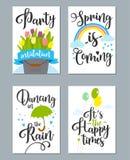 O grupo de cartão da mola com mola cita, caligrafia, flores Fotos de Stock Royalty Free
