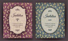 O grupo de cartão do convite do vintage com teste padrão floral, pode ser usado para a festa do bebê, o casamento, o aniversário  Fotos de Stock Royalty Free