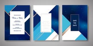 O grupo de cartão na moda do convite do casamento do céu noturno estrelado, salvar a data Celestial Template da galáxia, espaço,  ilustração do vetor