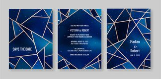 O grupo de cartão na moda do convite do casamento do céu noturno estrelado, salvar a data Celestial Template da galáxia, espaço,  ilustração royalty free