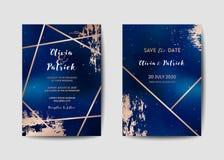 O grupo de cartão na moda do convite do casamento do céu noturno estrelado, salvar a data Celestial Template da galáxia, espaço,  ilustração stock