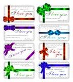 O grupo de cartões com citações sobre o amor. Inglês.  Fotos de Stock Royalty Free