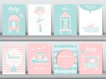 O grupo de cartões do convite da festa do bebê, cartões de aniversário, cartaz, molde, cartões, bonitos, carrega, treina, carro,  Imagem de Stock Royalty Free