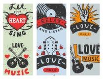 O grupo de cartões musicais do vintage entrega a amor tirado dos moldes elementos musicais para a ilustração do vetor do projeto ilustração do vetor