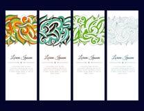 O grupo de cartões ou de bandeiras com zentangle colorido acena o ornamento Imagens de Stock