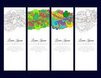 O grupo de cartões ou de bandeiras com zentangle colorido acena o ornamento Fotos de Stock Royalty Free