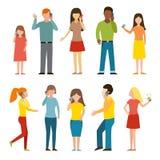O grupo de chamar o negócio móvel caráter de fala do telefone dos povos adultos vector a ilustração Imagem de Stock