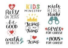 O grupo de 9 citações cristãs Jesus da rotulação da mão é meu rei, confia, estudo da Bíblia das crianças, seja bom, meninas, meni ilustração royalty free