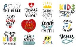 O grupo de 12 citações cristãs Jesus da rotulação da mão é meu rei, estuda a Bíblia, caminhada pela fé, ministério das crianças,  ilustração stock