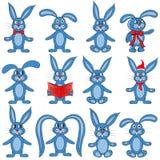 O grupo de coelhos no fundo branco ilustração royalty free