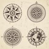 O grupo de compasso náutico da rosa do vento da antiguidade do vintage assina etiquetas Fotos de Stock