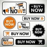 O grupo de compra abotoa-se agora para Web site e cópia Foto de Stock Royalty Free