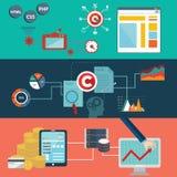 O grupo de conceitos lisos da ilustração do vetor do projeto para a disposição do Web site, os serviços e os apps de telefone cel ilustração do vetor