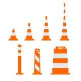 O grupo de cones vector ícones no projeto liso no branco ilustração do vetor