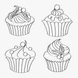 O grupo de contornos de queques deliciosos do Natal ilustração do vetor
