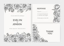O grupo de convite elegante do casamento, cartão da resposta e agradece-lhe notar os moldes decorados pela mão cor-de-rosa das fl ilustração do vetor