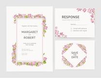 O grupo de convite lindo do casamento, salvar os moldes do cartão da data e da resposta decorados pela mão das flores da árvore d ilustração stock