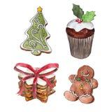O grupo de cookies do Natal isoladas no fundo branco, pão-de-espécie, ilustração da aquarela do queque ilustração do vetor