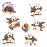 O grupo de corujas bonitos para você projeta desenhos animados Imagem de Stock