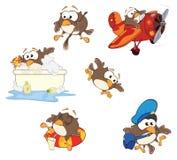 O grupo de corujas bonitos para você projeta desenhos animados Imagem de Stock Royalty Free