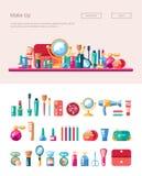 O grupo de cosméticos lisos do projeto, compõe ícones e Fotos de Stock Royalty Free