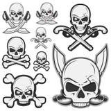 O grupo de crânio pirateia os ossos e pirateia o logotipo Imagens de Stock