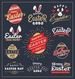 O grupo de crachá da tipografia do dia da Páscoa e as etiquetas projetam Foto de Stock
