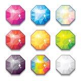 O grupo de cristais diferentes da cor dos desenhos animados, pedras preciosas, diamantes vector a coleção dos ativos do GUI para  ilustração stock